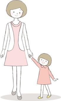 Parents holding hands
