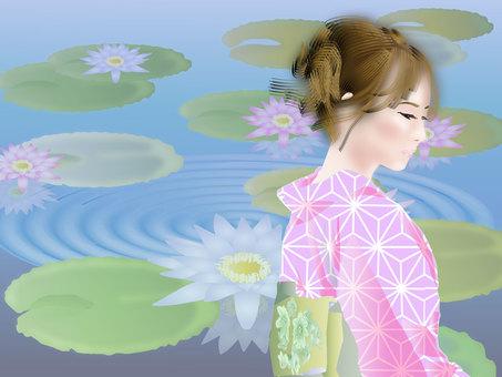 Yukata and water lily 02