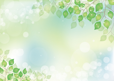 Natural background / sunbeams through leaves / fresh green