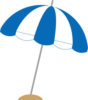 Beach umbrella (blue × white)