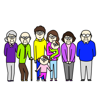 Family taking a group photo with nose glasses