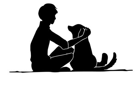 Men and dogs (silhouette)