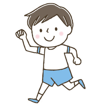 Cute running children / athletic / boys / genki