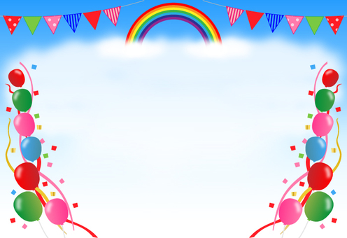 Sports day, background (rainbow, triangle flag, balloon)