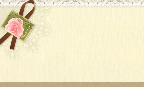 Card Rose Stamp Ribbon & Lace 2
