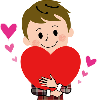 Holding a heart plain clothes male caring thanks