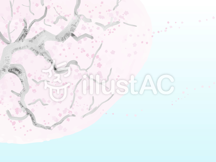 水彩タッチの桜の木1[空色背景]