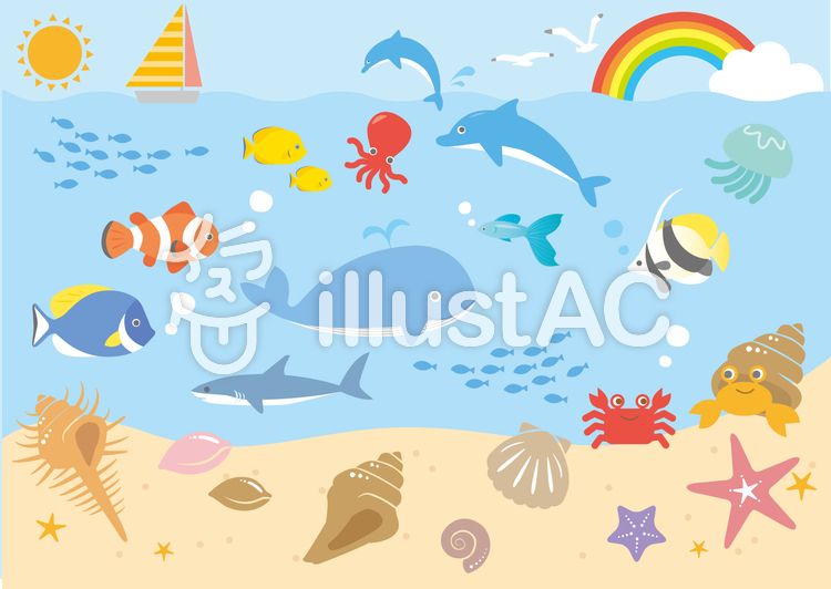 海の生き物イラスト No 821489無料イラストならイラストac