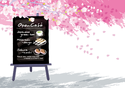 Open cafe illustration cherry blossom