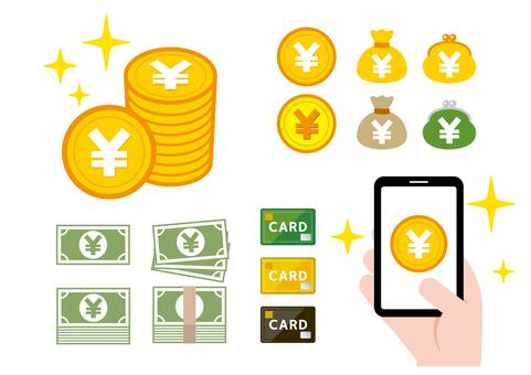 Money wallet illustration set
