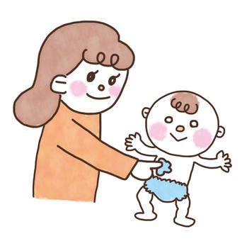 아기를 보습하는 엄마