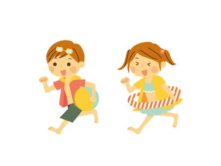 Running children sea swimwear