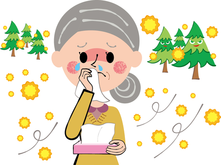 Granny wiping the hay fever and tears and runny nose