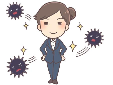 Virus fighting business woman