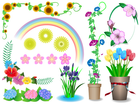 Various flowers set