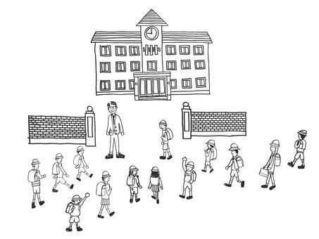 Morning school attendance monochrome