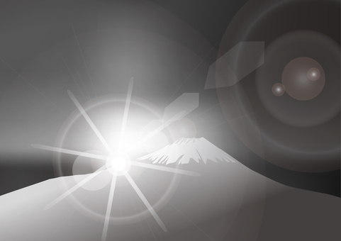 初日の出の富士山-白黒