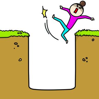 Hole fall woman