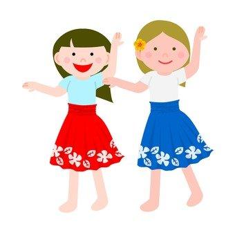 Women dancing hula dance