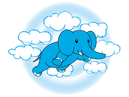 An elephant flying in the sky