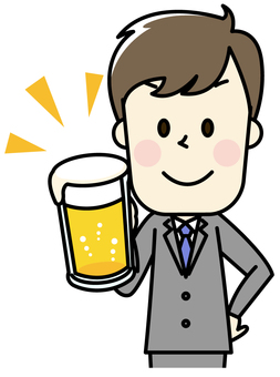 Male drinking beer at drinking party 2 - 2 toast