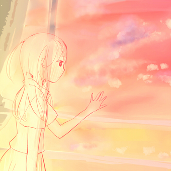 A ghostly girl and a classroom sunset