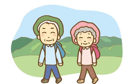 An old couple climbing