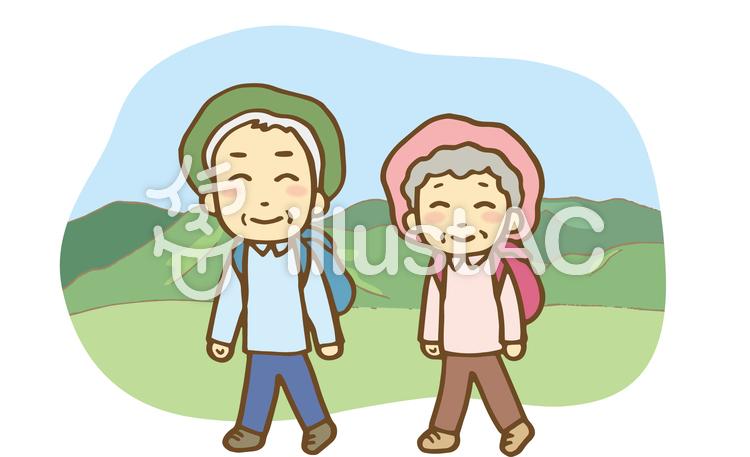 登山する老夫婦のイラスト