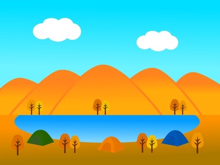 Autumn mountain and lake and tent landscape