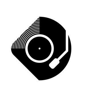 Record's black and white icon