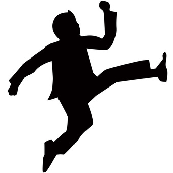 Businessman to run and jump
