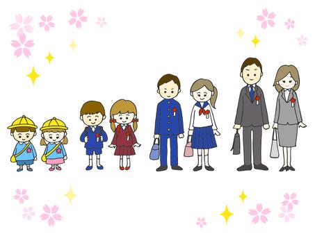 Admission · Graduation · People illustration set