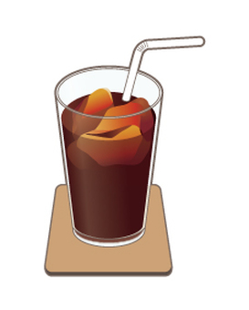 Ice coffee _ coaster _ with straw