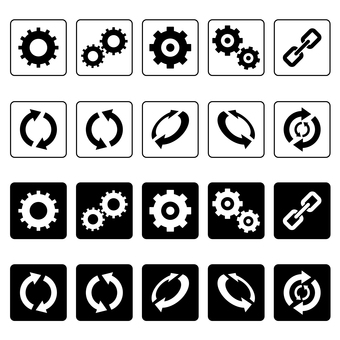 Icons such as gears and recycling marks