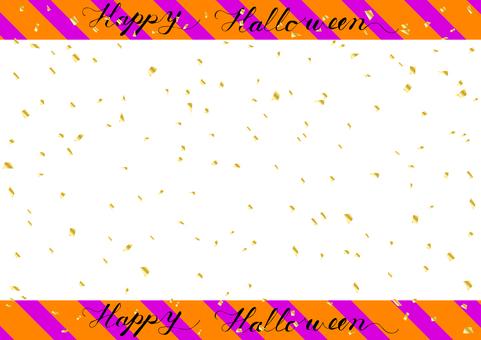 Halloween gold confetti stripe frame