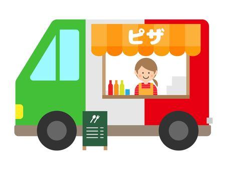 Pizza store kitchen car mobile shopping cart illustration