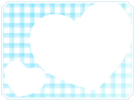 Check and Heart Frame 3 Blue