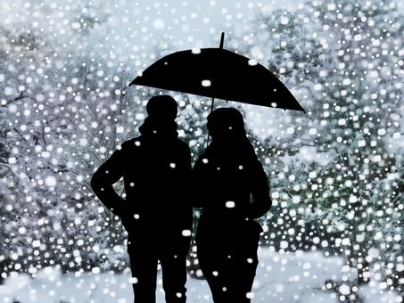 Walk a snow park with an umbrella
