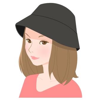 차양 모자 검정