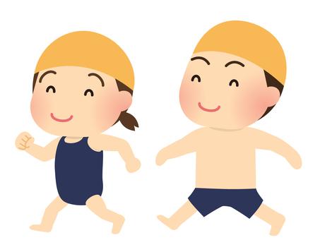 Illustration of children in a school swimsuit