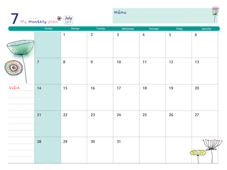 Calendar of July