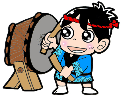 A boy clapping a drum with a festival