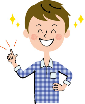 Smile Male People Waist upper finger pointing