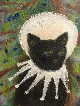 Black cat oil painting 5