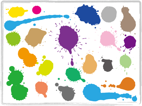 Colorful paint drops set