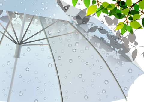 Rain scenery illustration 03 Fresh green and vinyl umbrella