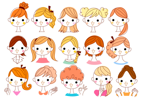 A collection of illustrations of girls