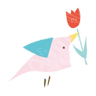 튤립과 작은 새