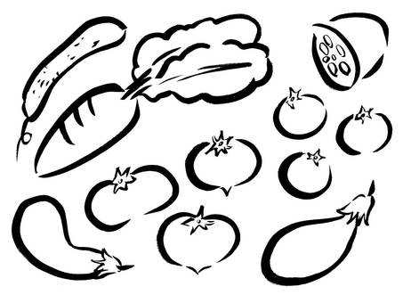[Brush painting] Illustration of vegetables
