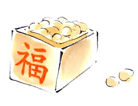 """""""Handwritten material"""" beans of Setsubun"""